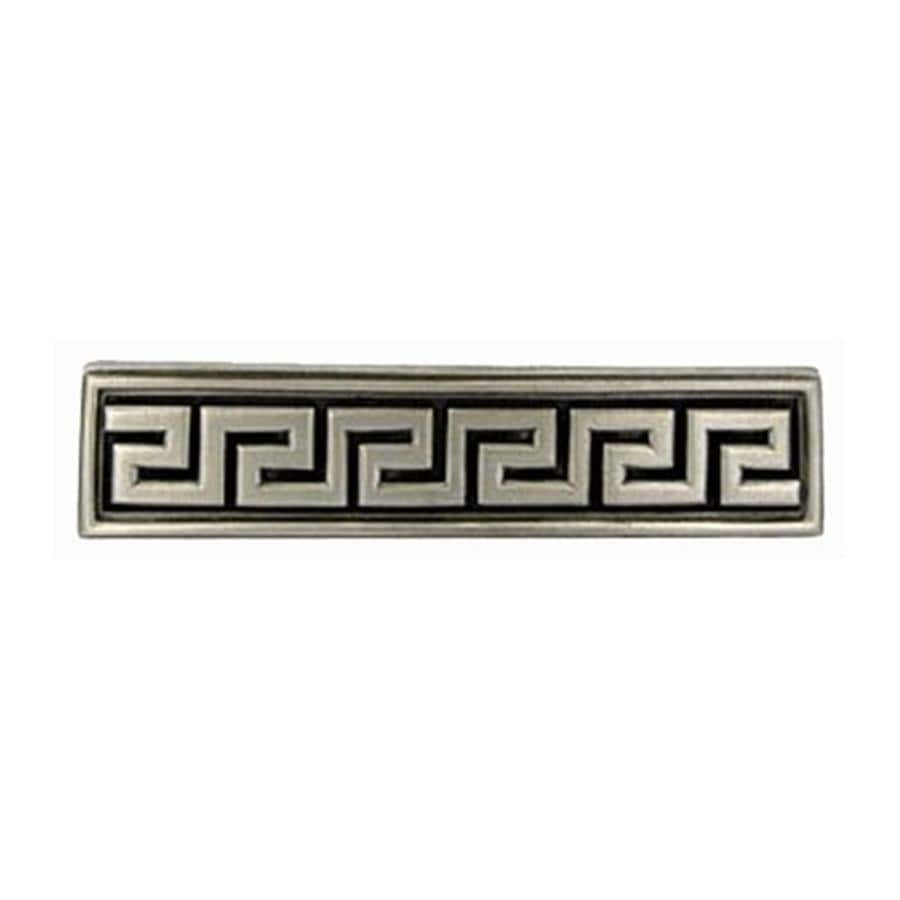 Anne at Home 3-In Center-To-Center Satin Pewter Greek Key Rectangular Cabinet Pull