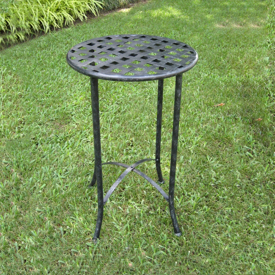 International Caravan Mandalay 15.75-in W x 15.75-in L Round Iron End Table
