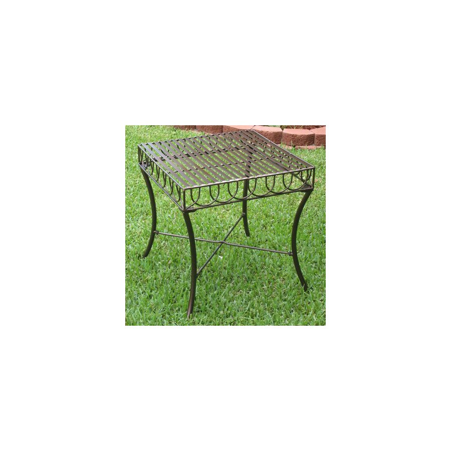 International Caravan 20-in x 20-in HammeRed bronze Wrought iron Square Patio Side Table
