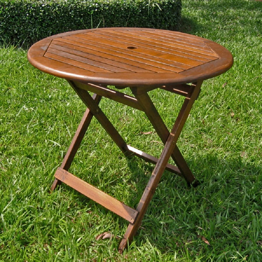 International Caravan 32-in W x 32-in L Oiled Acacia Wood Round Folding Bistro Table