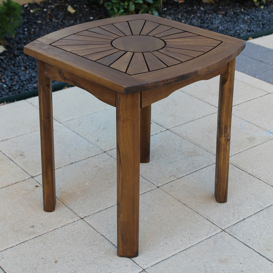 International Caravan 20-in W x 20-in L Oiled Acacia Wood Square End Table