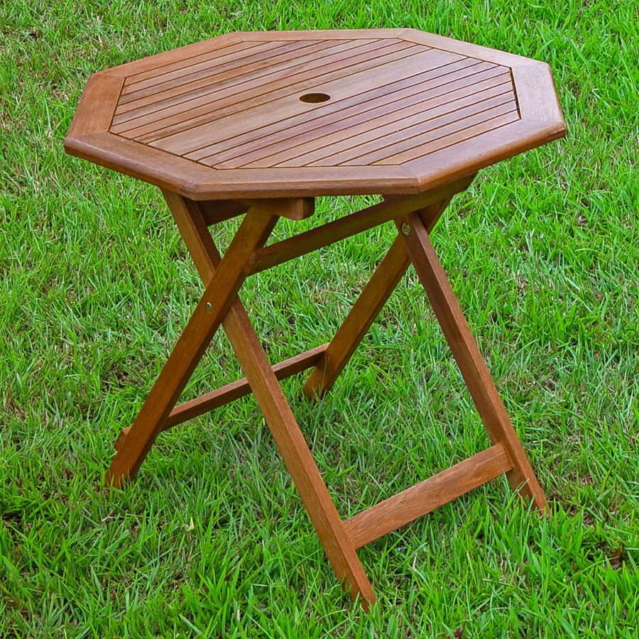 International Caravan 30-in W x 30-in L Oiled Acacia Wood Octagon Folding Bistro Table