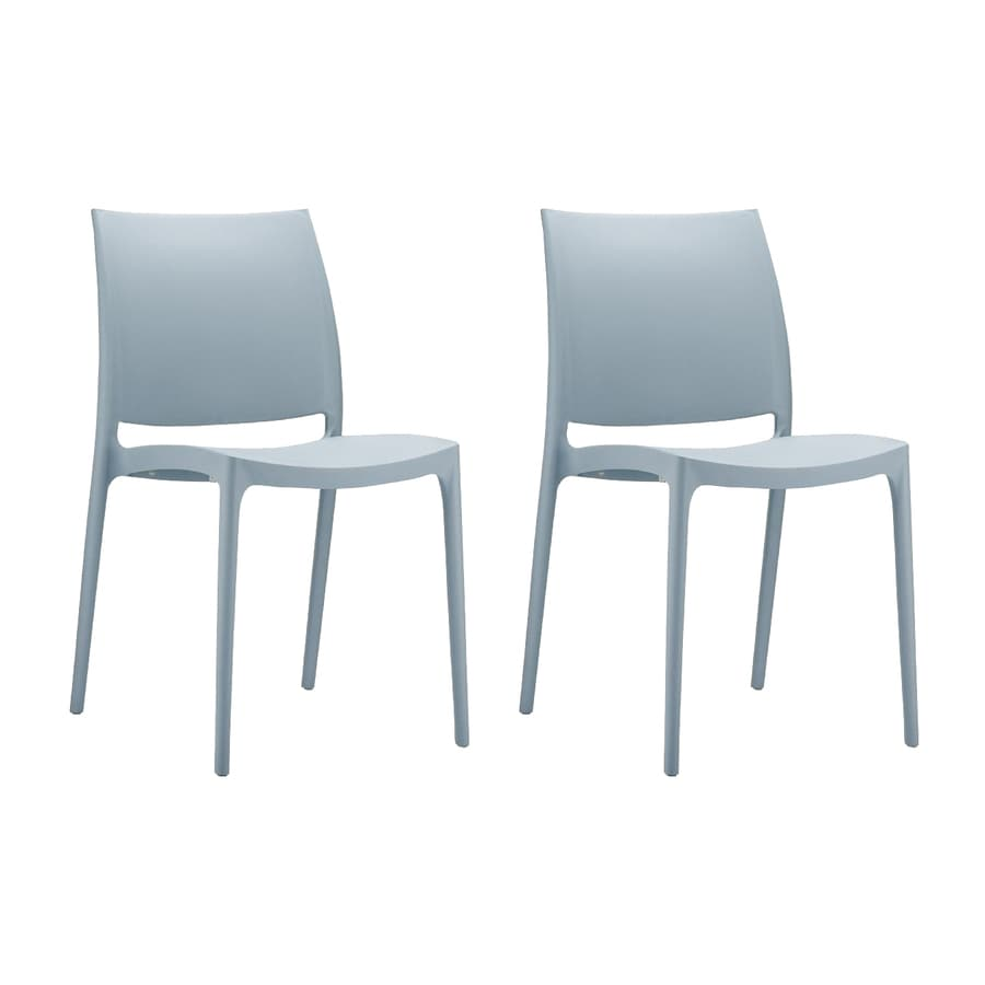 compamia maya 2count silver gray resin stackable patio dining chairs