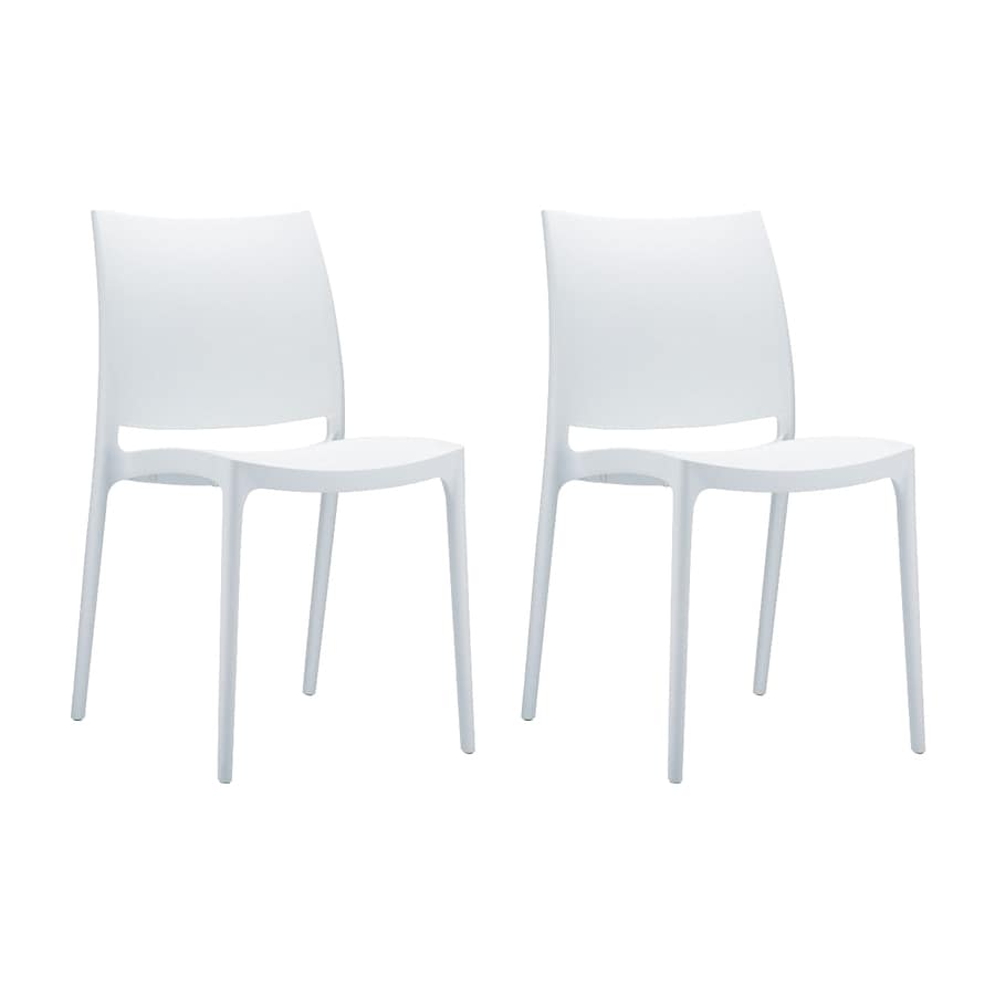 Compamia Maya 2-Count White Resin Stackable Patio Dining Chairs
