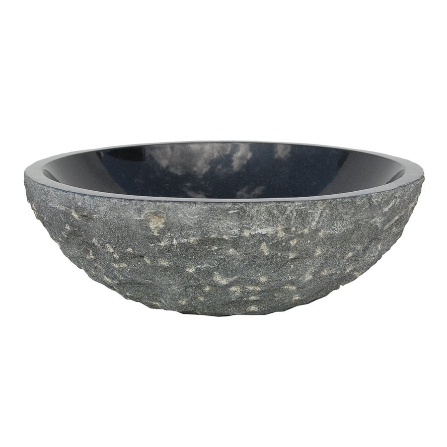 Shop eden bath black stone vessel round bathroom sink at for Black vessel bathroom sink