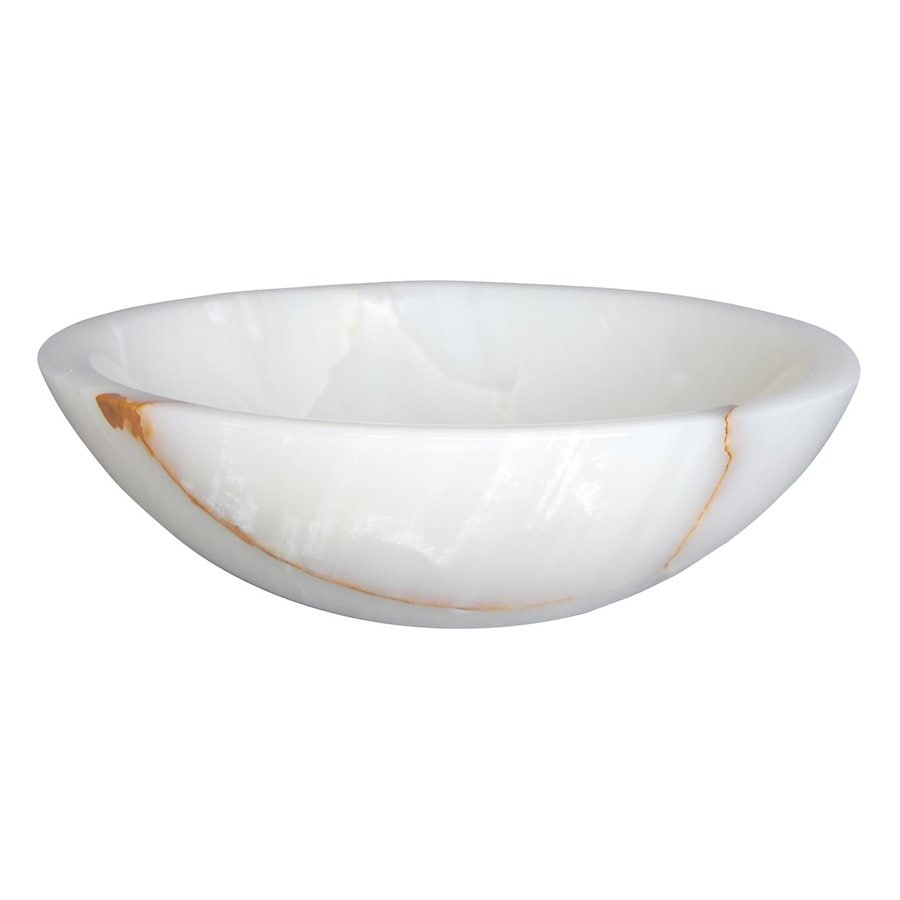 Eden Bath White Stone Vessel Round Bathroom Sink