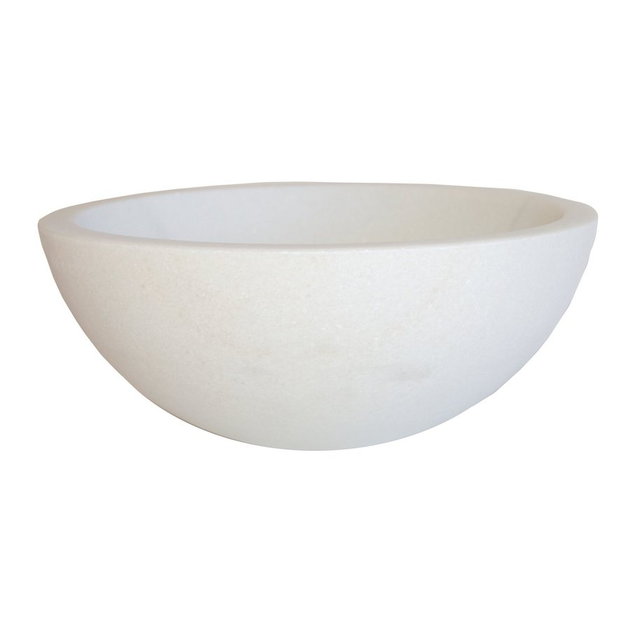 Shop Eden Bath White Marble Vessel Round Bathroom Sink at Lowes.com