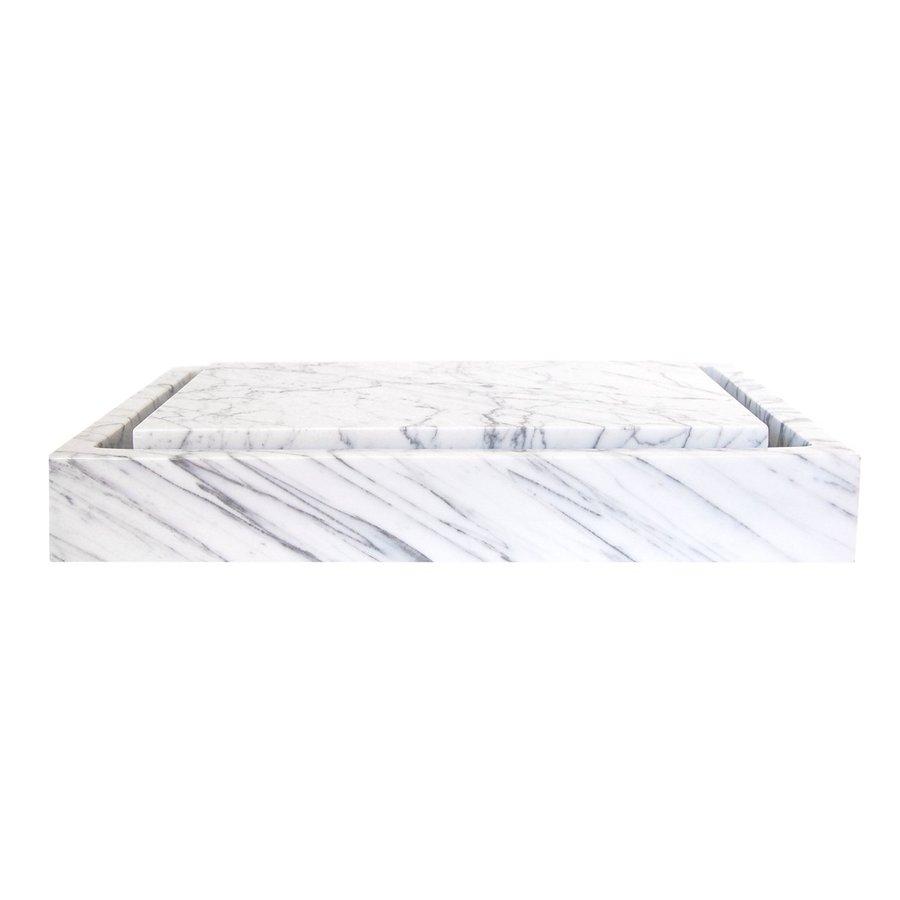 Eden Bath White Stone Vessel Rectangular Bathroom Sink