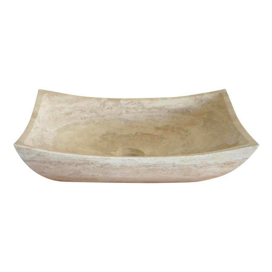 Beau Eden Bath Travertine Stone Vessel Rectangular Bathroom Sink
