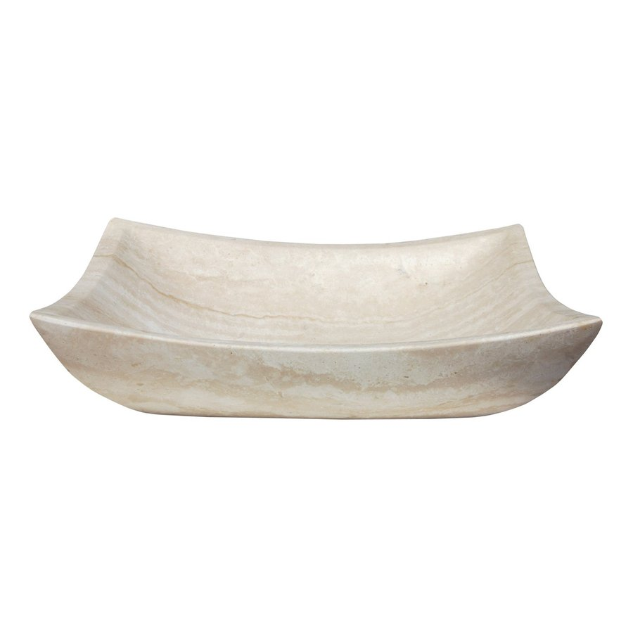 Eden Bath White Travertine Stone Vessel Rectangular Bathroom Sink
