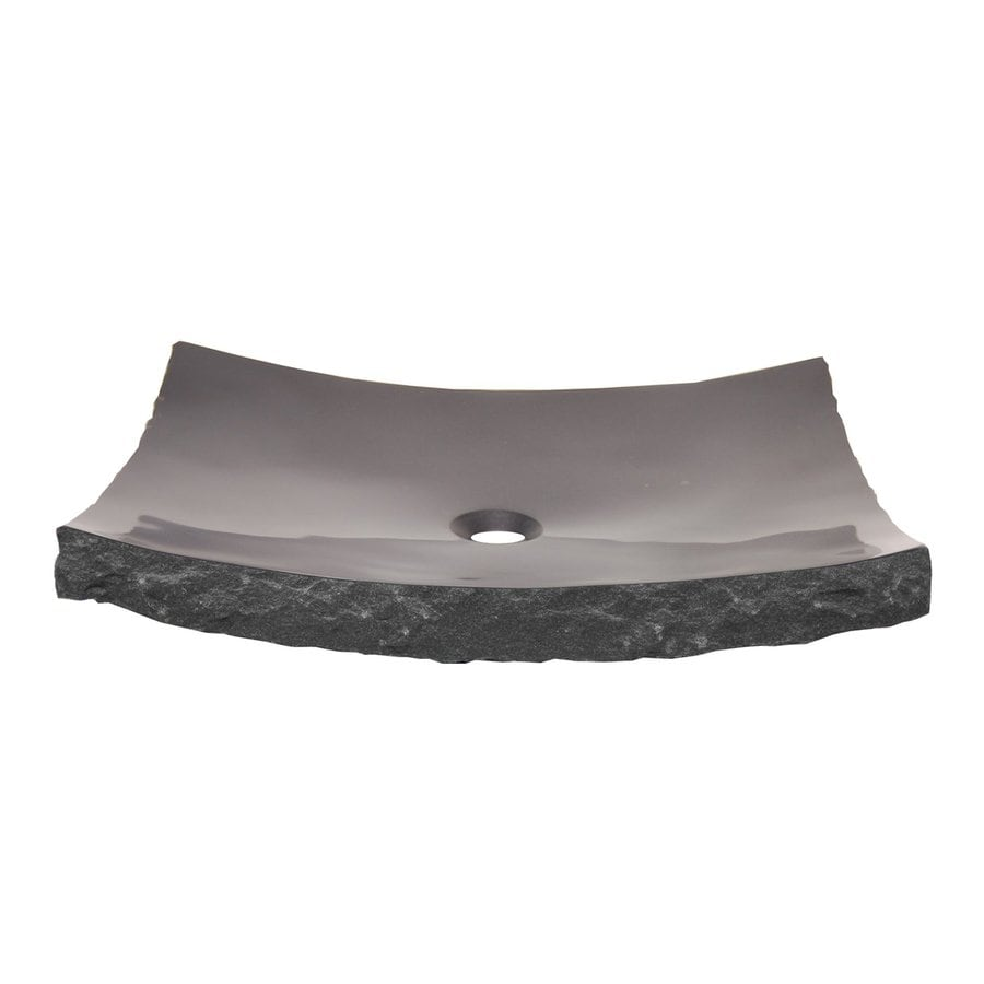 Eden Bath Black Stone Vessel Rectangular Bathroom Sink