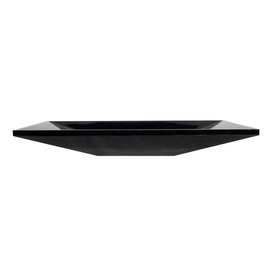 Shop eden bath black stone vessel rectangular bathroom for Black vessel bathroom sink