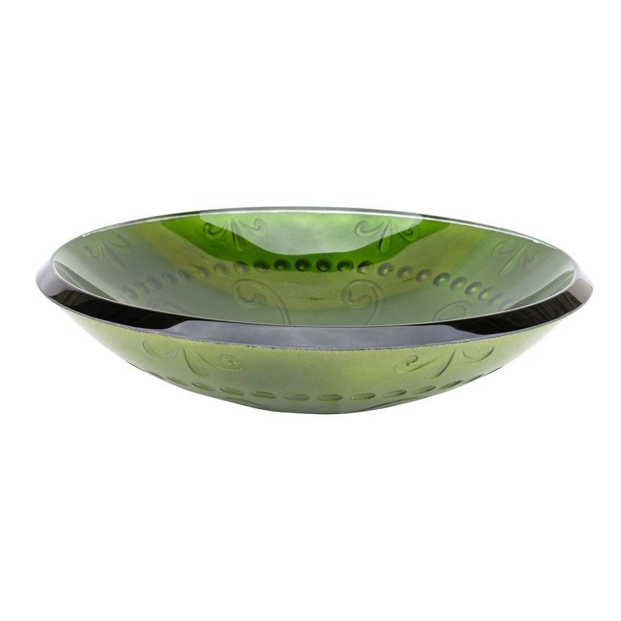 Shop Eden Bath Green Glass Vessel Round Bathroom Sink At Lowescom
