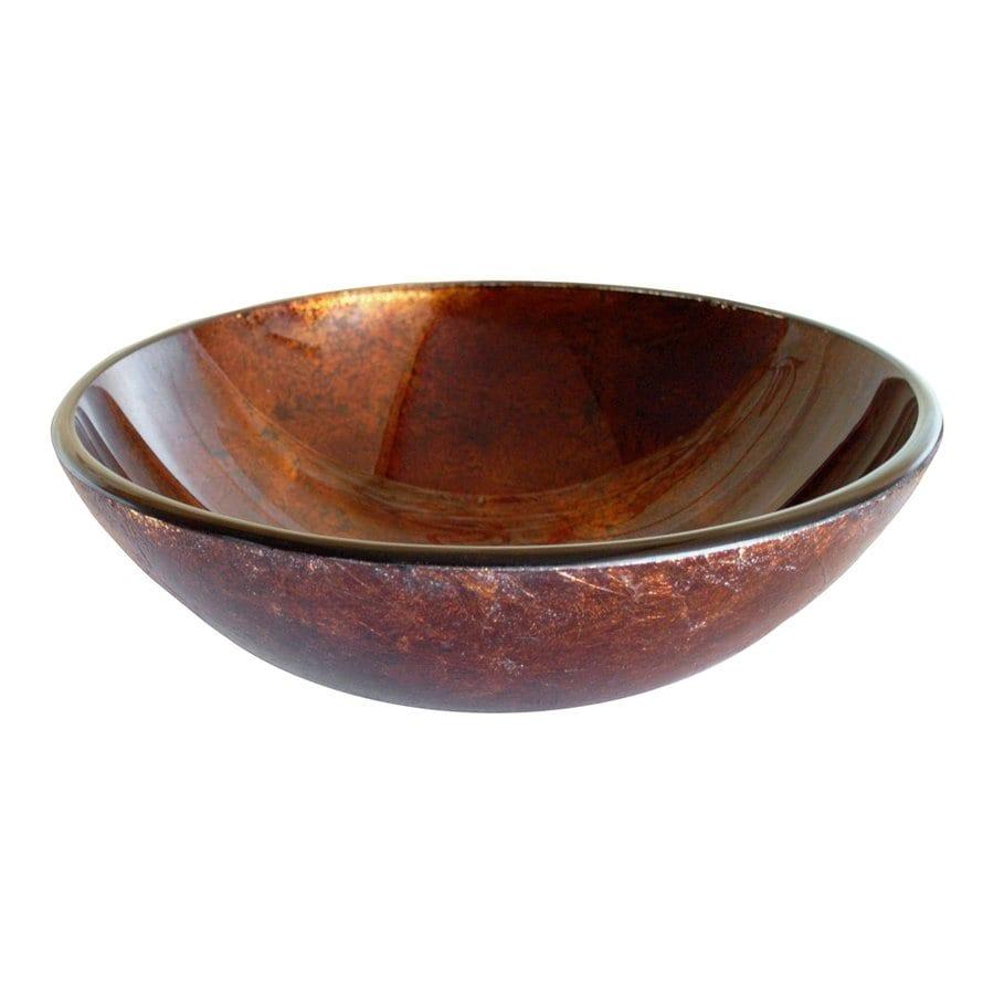 Shop Eden Bath Copper Glass Vessel Round Bathroom Sink At