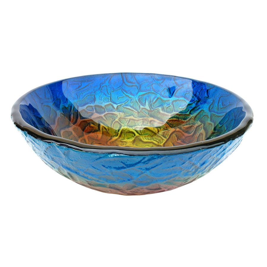 Eden Bath Blue Glass Vessel Round Bathroom Sink