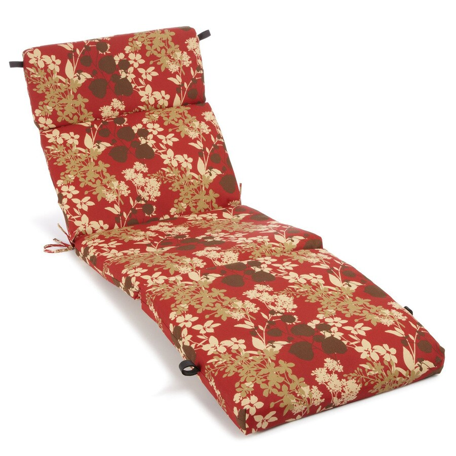 Blazing Needles Montfleuri Sangria Floral Standard Patio Chair Cushion for Chaise Lounge