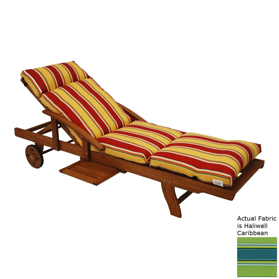 Blazing Needles Haliwell Caribbean Stripe Standard Patio Chair Cushion for Chaise Lounge