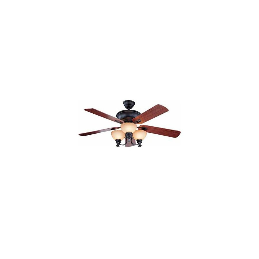 Volume International 52-in Rainier Foundry Bronze Ceiling Fan with Light Kit and Remote