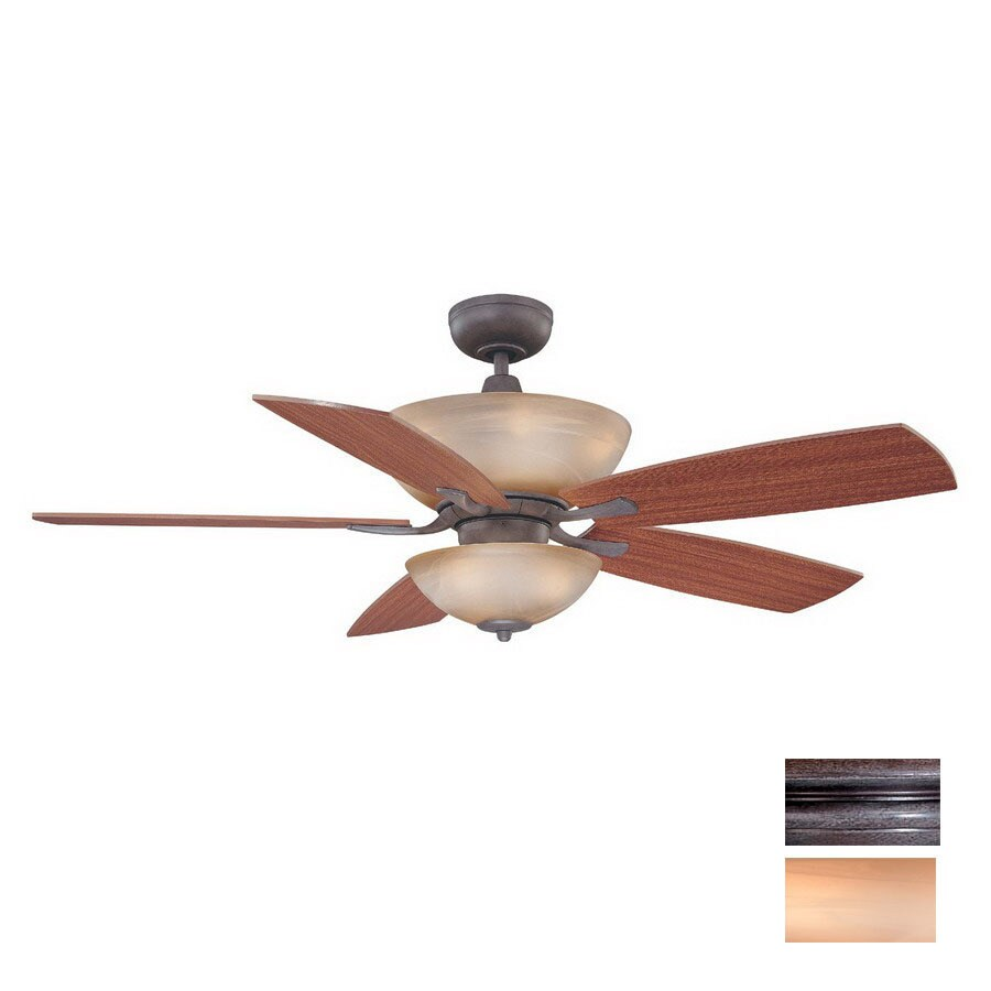 Volume International 52-in Frontier Iron Ceiling Fan with Light Kit and Remote