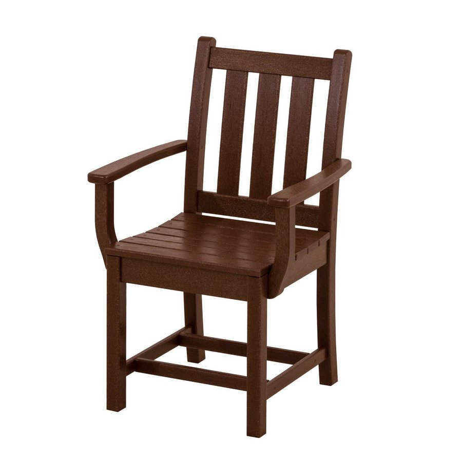 POLYWOOD Traditional Garden 2-Count Mahogany Plastic Patio Dining Chairs