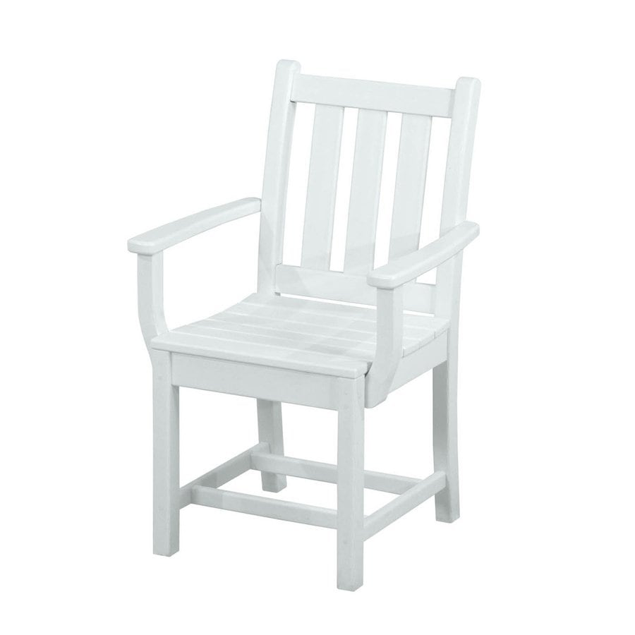 Shop polywood traditional garden 2 count white plastic for White plastic dining chair