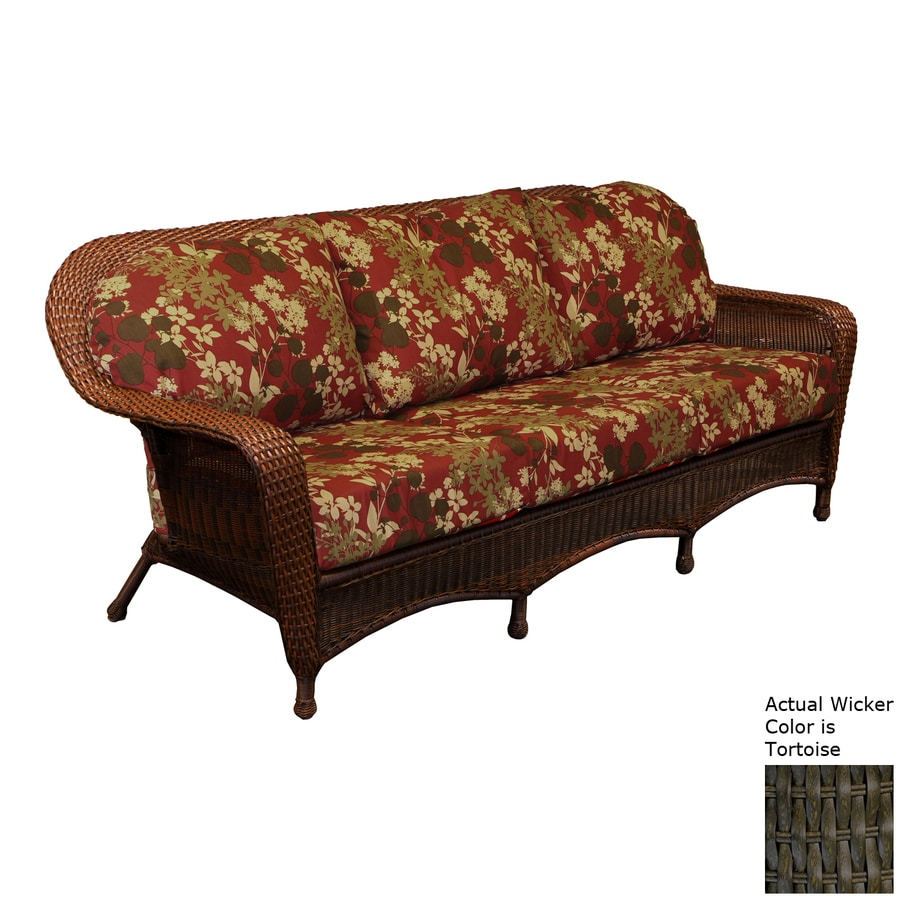 Tortuga Outdoor Lexington Floral Cushion Tortoise Wicker Sofa