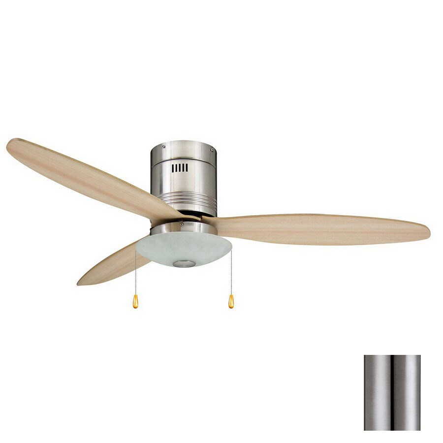 Yosemite Home Decor Royale 52-in Brushed Nickel Flush Mount Ceiling Fan with Light Kit