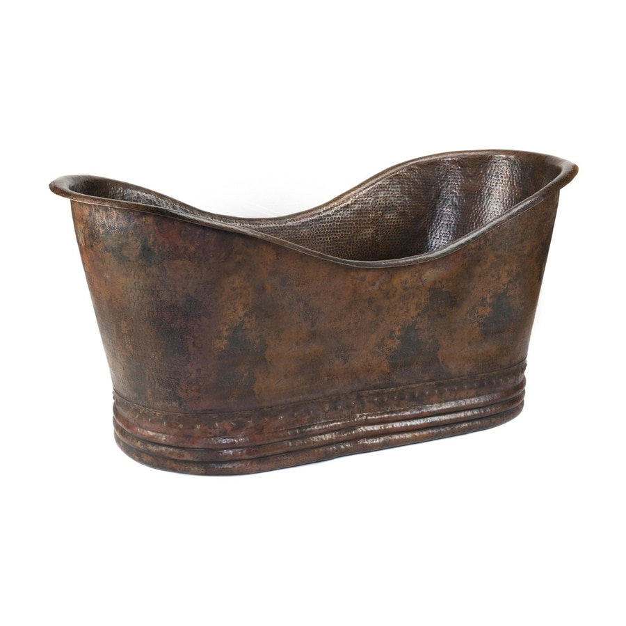 Premier Copper Products Oil Rubbed Bronze Copper Oval Freestanding Bathtub with Center Drain (Common: 32-in x 67-in; Actual: 32-in x 32-in x 67-in)