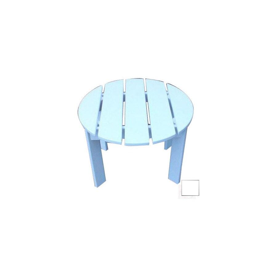 Prairie Leisure Design 22-in x 22-in Satin White Wood Round Patio Side Table