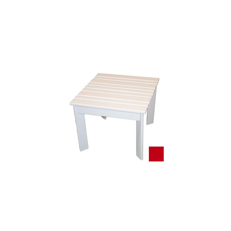 Prairie Leisure Design 16-in x 16-in Fire Engine Red Wood Square Patio Side Table