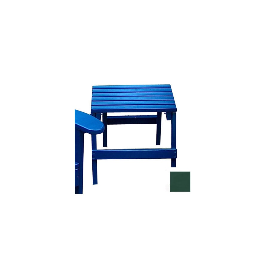 Prairie Leisure Design 16-in x 13-in Hunter Green Wood Rectangle Patio Side Table