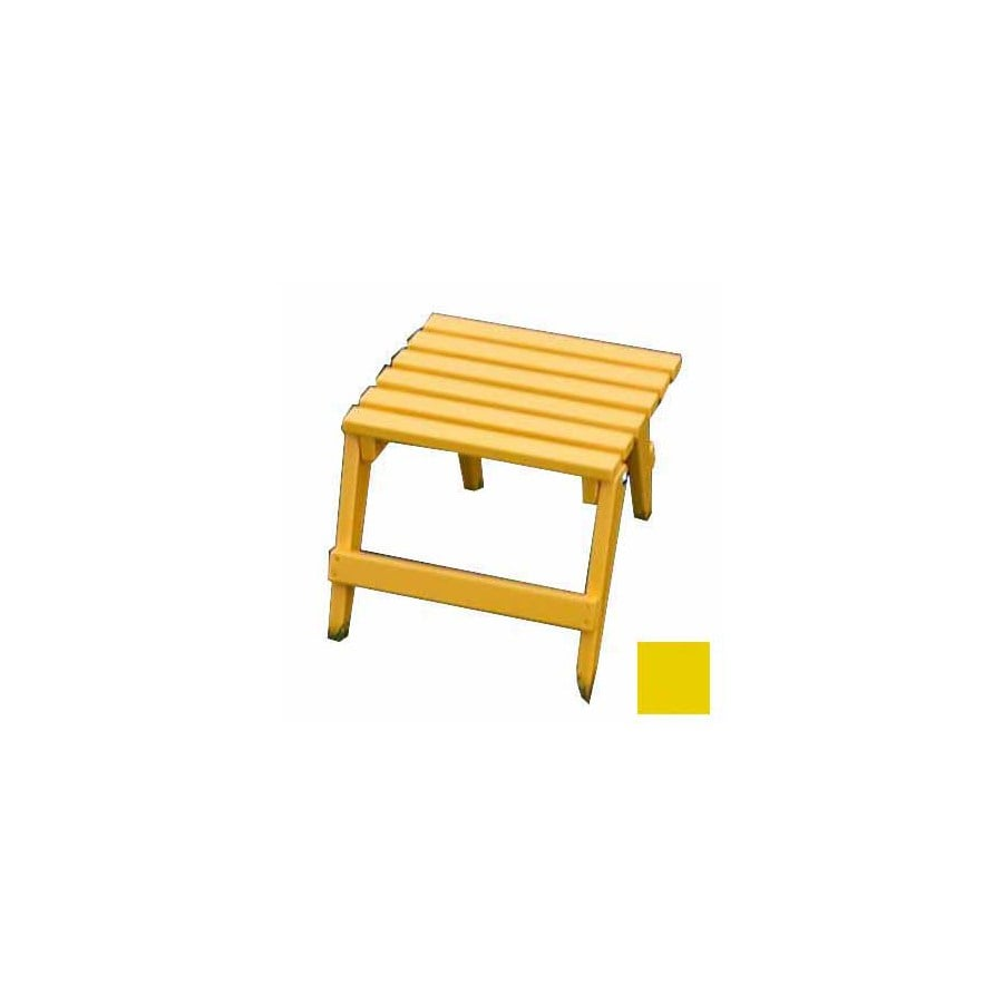 Prairie Leisure Design 16-in x 13-in Buttercup yellow Wood Rectangle Patio Side Table