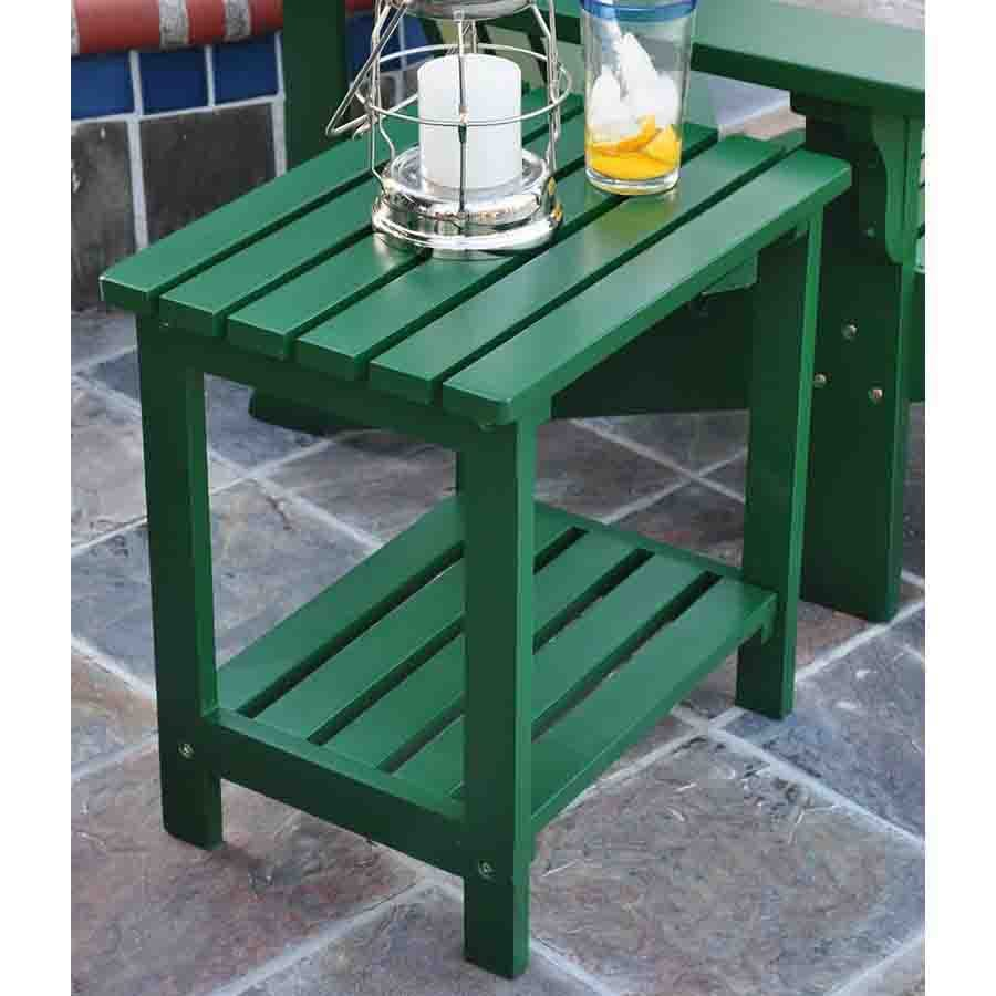 Shine Company 19.75-in x 14-in Hunter Green Cedar Rectangle Patio Side Table