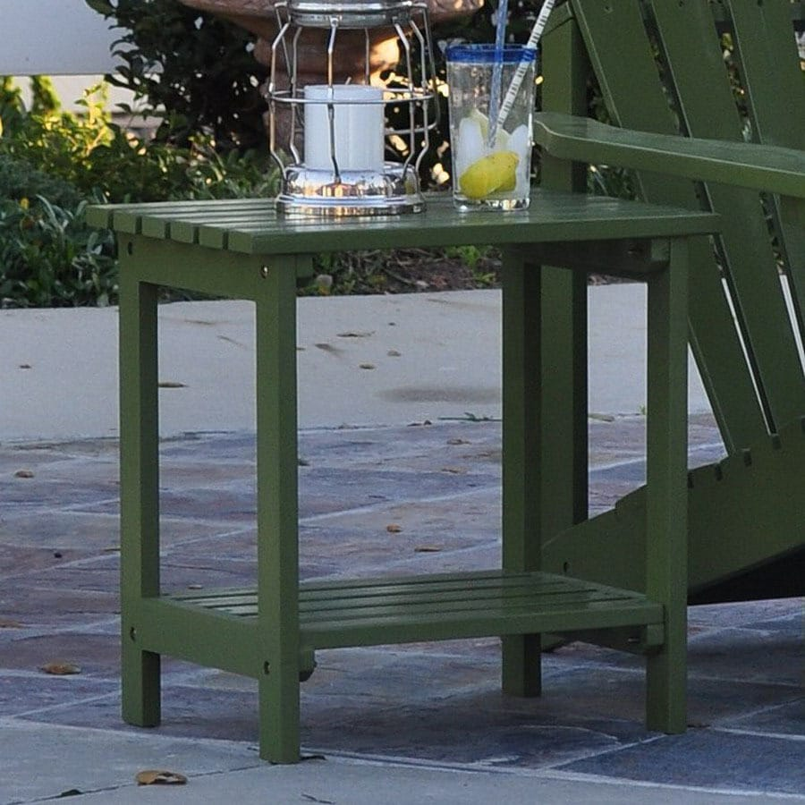 Shine Company 19.75-in x 14-in Sage Green Cedar Rectangle Patio Side Table