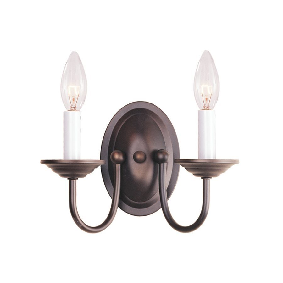 Livex Lighting Williamsburg 9.75-in W 2-Light Bronze Candle Wall Sconce