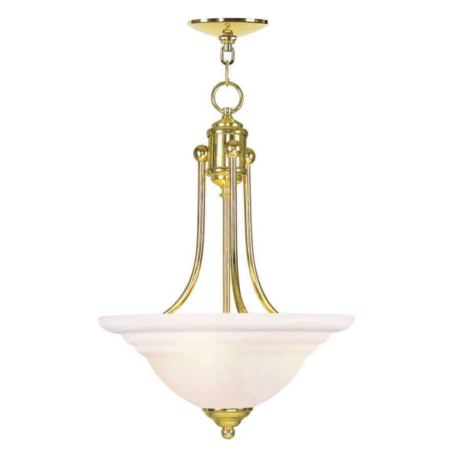 Livex Lighting North Port 16-in Polished Brass Single Alabaster Glass Bowl Pendant