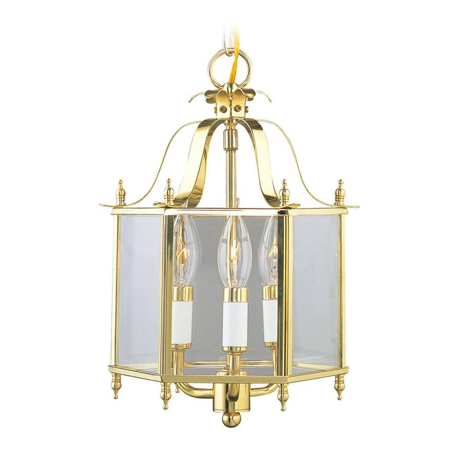 Livex Lighting Livingston 10-in Polished Brass Vintage Single Clear Glass Lantern Pendant
