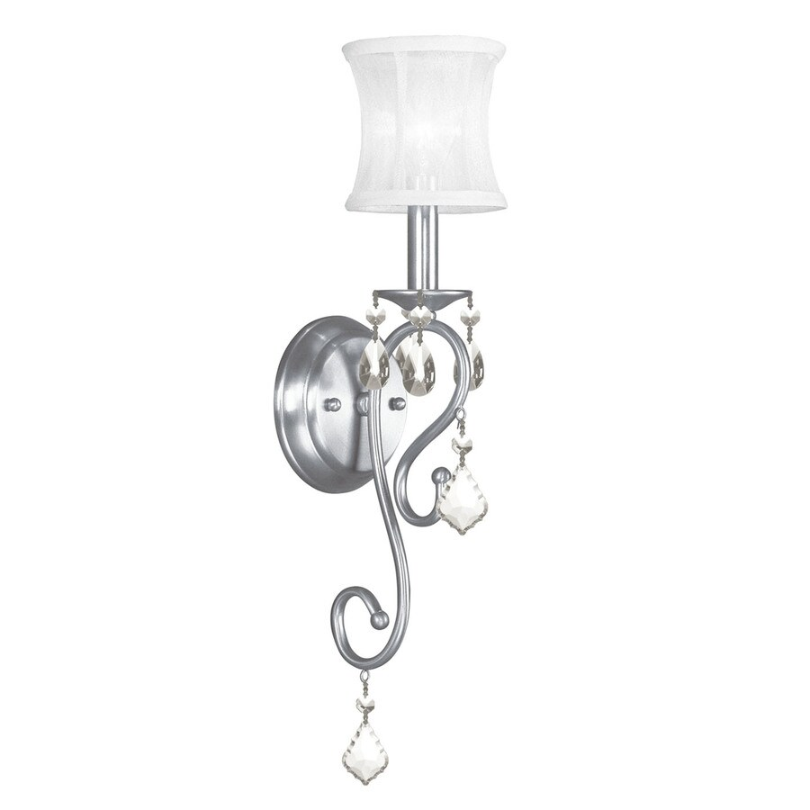 Livex Lighting Newcastle 4.5-in W 1-Light Brushed Nickel Crystal Accent Arm Wall Sconce