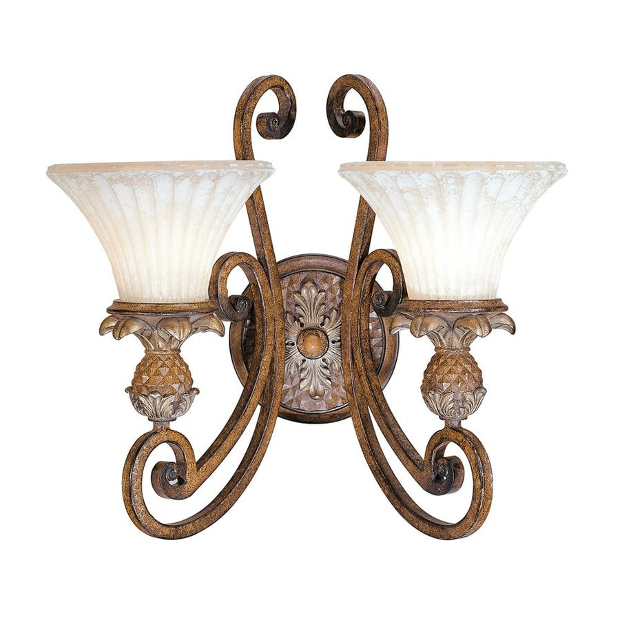 Livex Lighting Savannah 16.5-in W 2-Light Venetian Patina Vintage Arm Wall Sconce