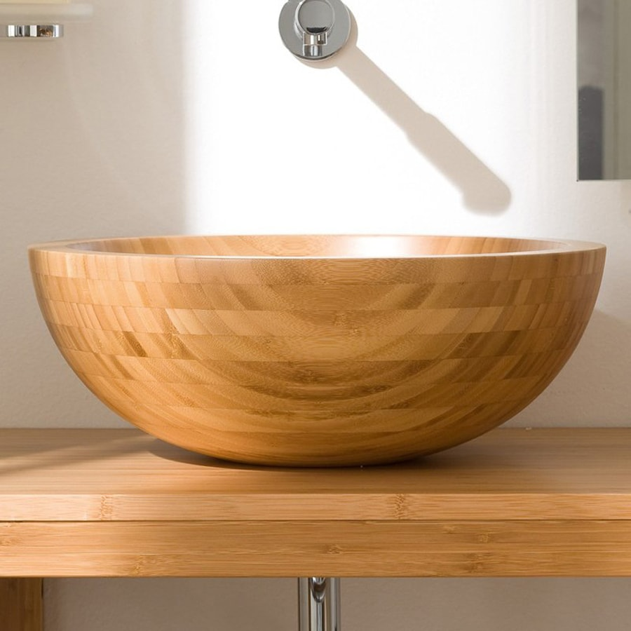 WS Bath Collections Linea Natural Bamboo Vessel Round Bathroom Sink