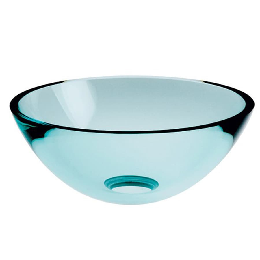 WS Bath Collections Linea Clear Glass Vessel Round Bathroom Sink