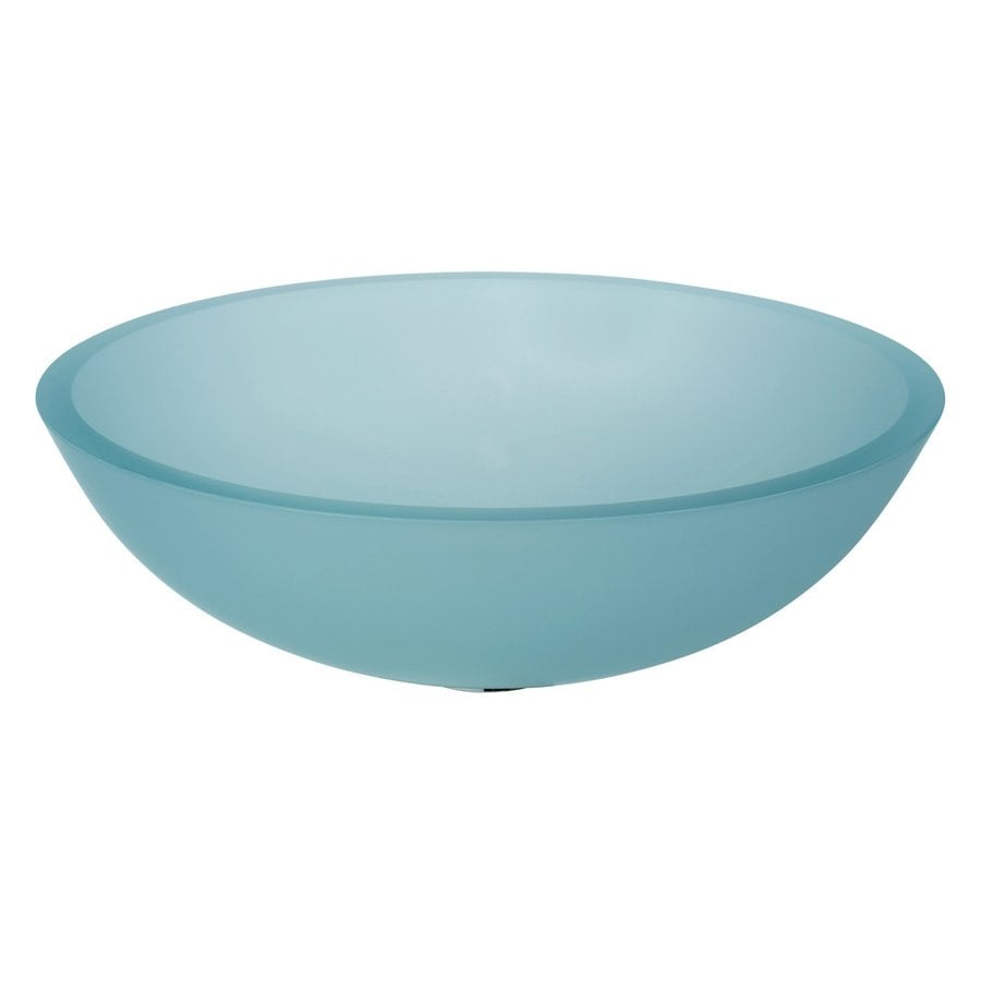 WS Bath Collections Linea Frosted Glass Vessel Round Bathroom Sink