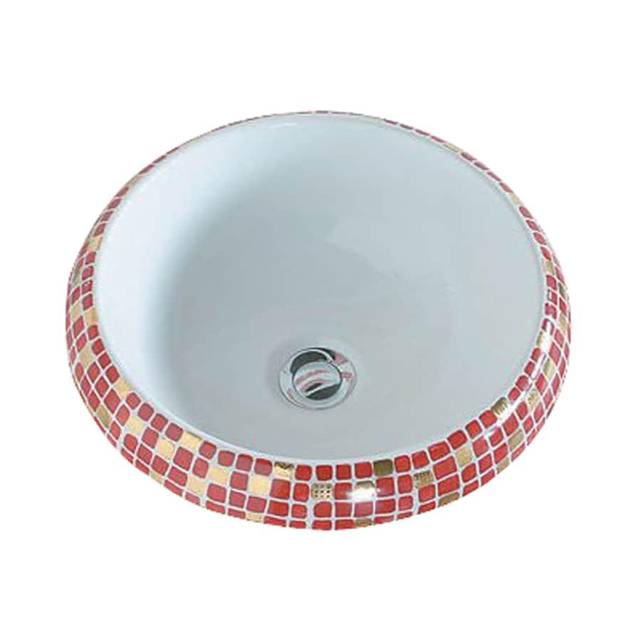 WS Bath Collections Ceramica Impero Rosso Ceramic Vessel Round Bathroom Sink (Drain Included)