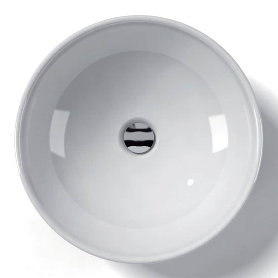 WS Bath Collections Ceramica White Ceramic Vessel Round Bathroom Sink (Drain Included)
