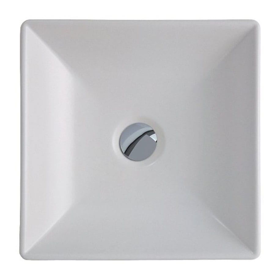 WS Bath Collections Ceramica White Ceramic Vessel Rectangular Bathroom Sink (Drain Included)