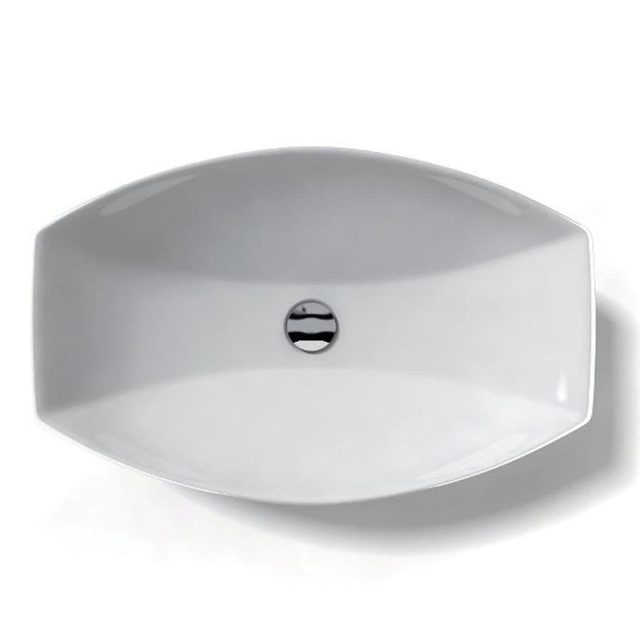 ... White Ceramic Vessel Oval Bathroom Sink (Drain Included) at Lowes.com
