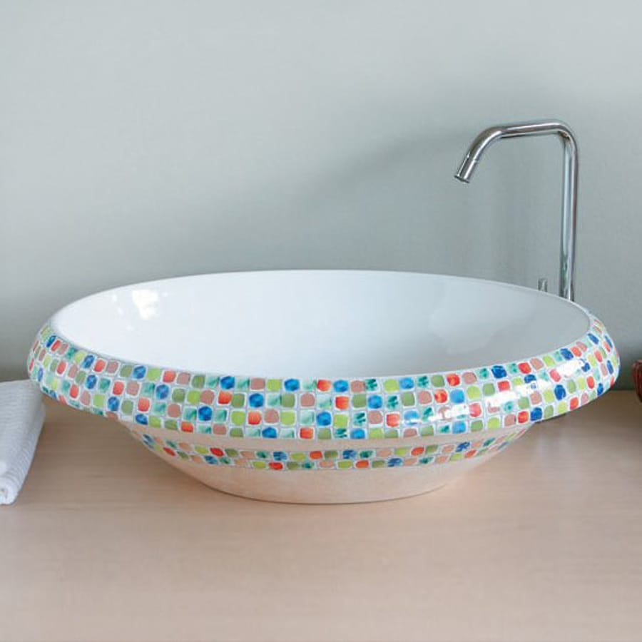 WS Bath Collections Ceramica Arcobaleno Ceramic Vessel Round Bathroom Sink