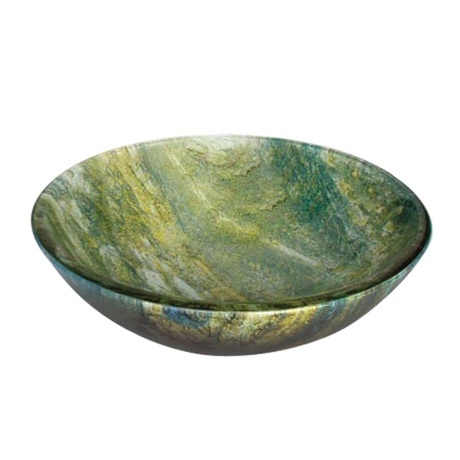 Yosemite Home Decor Multi-Colored Polished Glass Vessel Round Bathroom Sink