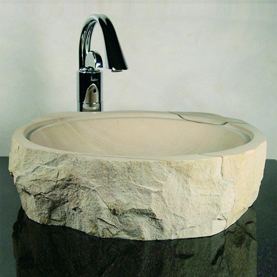 Yosemite Home Decor Stone Products Rough Sandstone Vessel Round