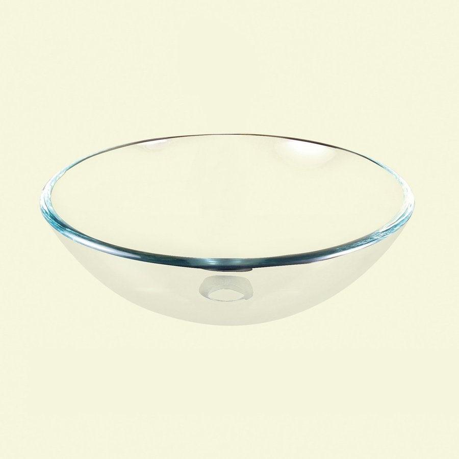 Yosemite Home Decor Clear Polished Glass Vessel Round Bathroom Sink